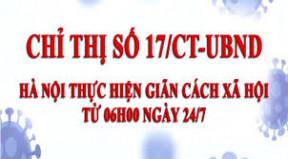 Từ 6 giờ ngày 24/7/2021: Hà Nội thực hiện giãn cách xã hội theo nguyên tắc Chỉ thị số 16/CT-TTg